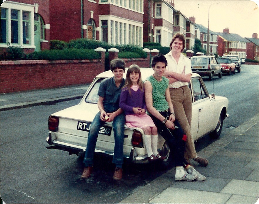 8) Me with Michael, Stephen & Julia on our Triumph 2000 RTJ322G 1979